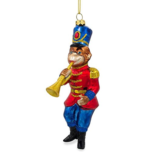BestPysanky Monkey Nutcracker with Trumpet Blown Glass Christmas Ornament 6 Inches
