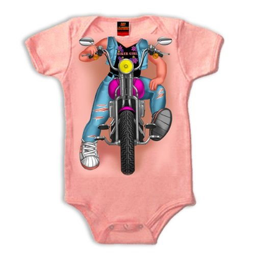 Hot Leathers Headless Girl Biker Onesie (Pink, 12 Months)