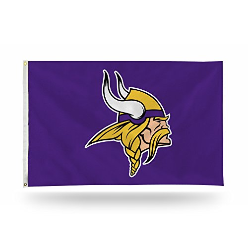 ikings 3-Foot by 5-Foot Single Sided Banner Flag with Grommets ()