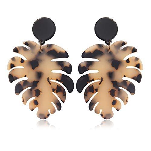 Lightweight Acrylic Earrings For Women Girls Resin Tortoise Shell Palm Leaf Earrings Mottled Marbled Floral Drop Dangle Stud Earrings Fashion Jewelry (khaki)