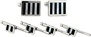 product image for David Donahue Mens Sterling Silver Rectangle Black/White Mosaic Cuff Links Stud Set