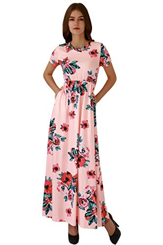 (YMING Women's Casual Floral Dress Maxi Long Length Dress Pleated Dress Pink)