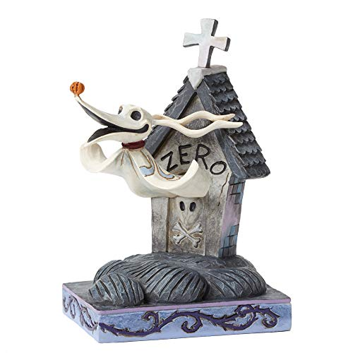 Enesco Disney Traditions Nightmare Before Christmas Zero and Dog House Figurine, 5 Inch, Multicolor