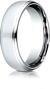 Benchmark 18k White Gold 6.5mm Comfort-Fit Drop Edge High Polish Design Band, Size 10.75