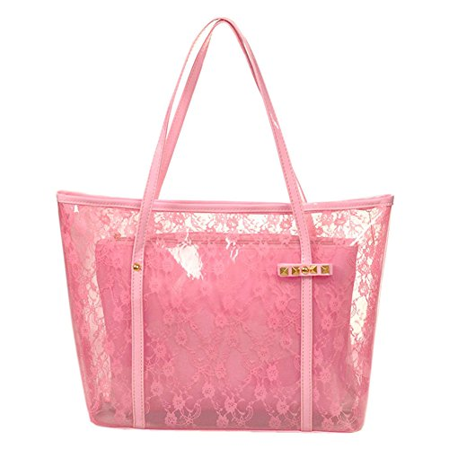 Waterproof Clear Beach Tote Shoulder Handbag Lace Beach Bag with Small Cosmetic bag - Diy Lace Backpack