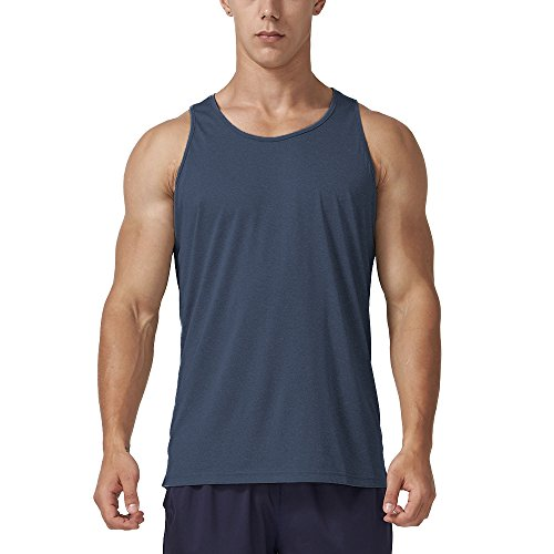 Men's Dry Fit Athletic Tank Top, Crew Neck Sleeveless Workout Shirts, Black Heather M