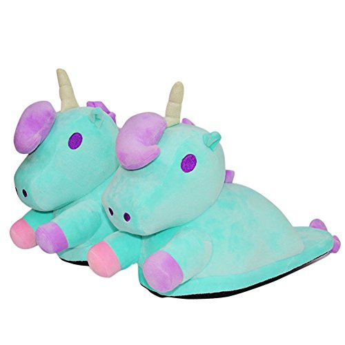Adult Cute Slippers Slippers Loafers Anti Green Plush House Unicorn Spiritup Slip RAdT1Rwqf