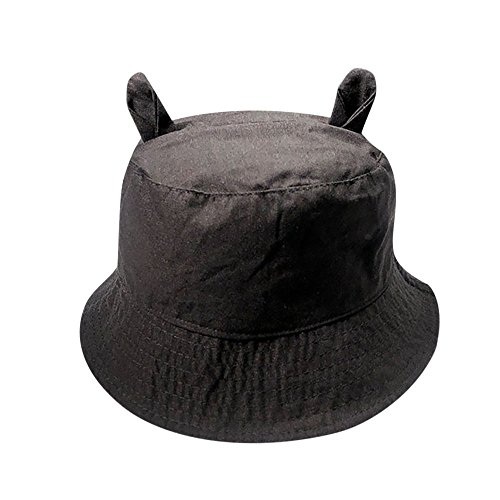 ZOMUSAR Summer 100% Washed Cotton Cute Ears Solid Bucket Hat