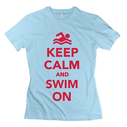 RILI Women's Keep Calm Swim T-shirt Size XS SkyBlue