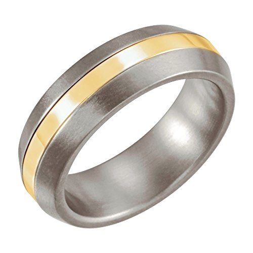 Titanium & 14K Yellow Gold Inlay 6mm Satin Finished Wedding Ring Band Size 11