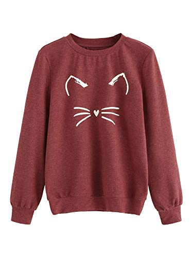 Romwe Women's Cat Print Sweatshirt Long Sleeve Loose Pullover Shirt Red X-Large]()