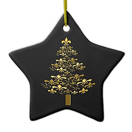 star sharp christmas ornaments black gold fleur de lis christmas tree star ceramic ornament - Black And Gold Christmas Decorations