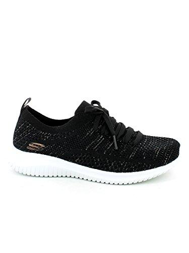 Skechers Womens Ultra Flex Salutations Sneaker Nero / Oro