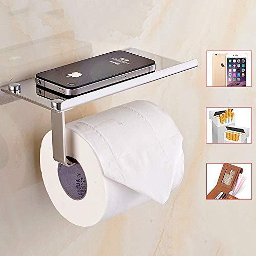 (Toilet Paper Holder - Stainless Steel Bathroom Tissue Holder with Mobile Phone Storage Shelf Rack - Wall Mounted Tissue Holder - Toilet Roll Paper Rack Stand - Bathroom Tissue Dispenser - Modern Style)