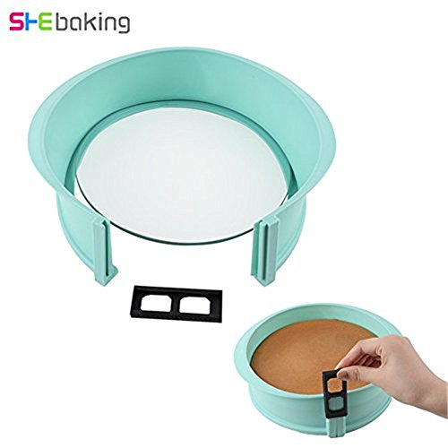 9 Inch Round Premium Non-Stick Silicone Springform Pan Cheesecake Pan with Tempered Glass Base (Glass Non Stick Springform Pan)