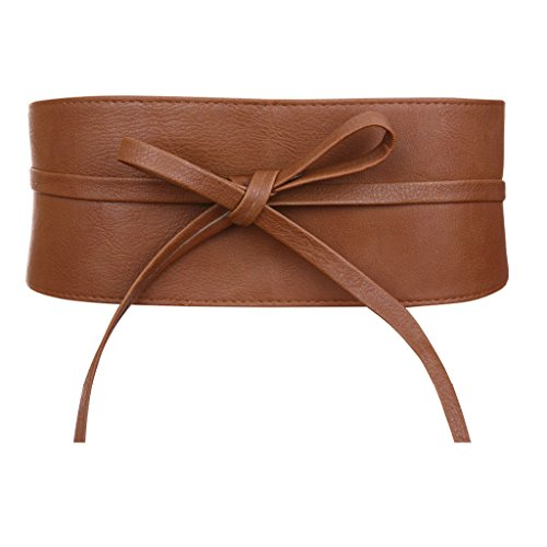 - Womens Faux Leather Wrap Around Obi Style Waist Band Belt (Brown Faux Leather)