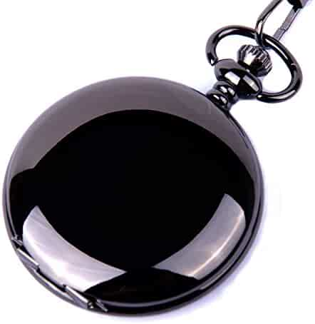 Classic Smooth Surface Black Pocket Watch with Chain