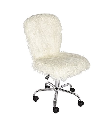 Linon  Cora Faux Flokati Armless Office Chair, White