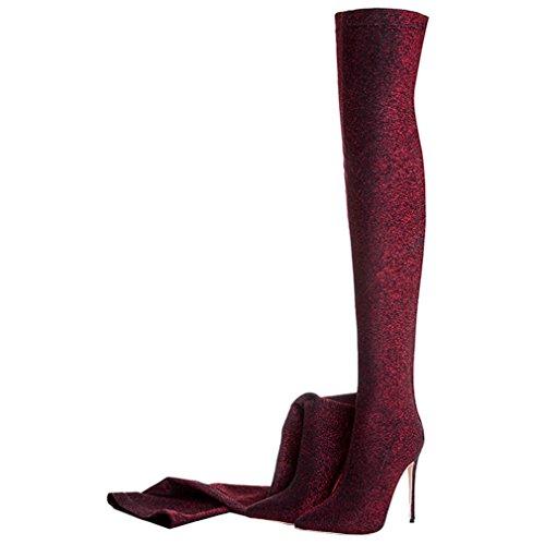 ENMAYER Womens Stiletto High Heels über die Knie Stiefel Slip auf Schuhe Rote