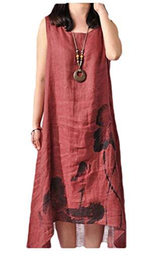 Hajotrawa Women's Irregular-Hem Sundresses Linen Short Sleeve Midi Dress Wine Red L (Advance Sleeve Sundress Short)