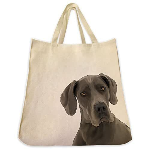 Great Dane Dog Portrait Color Design Extra Large Eco Friendly Reusable Cotton Twill Grocery Shopping Tote Bag