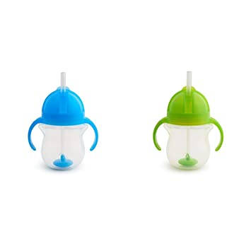 Munchkin Click Lock Tip and Sip Weighted Soft Flexi Straw Trainer Cup Green 7oz