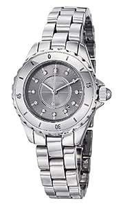 Stuhrling Original Women's Leisure Ceramic Austere Quartz Swarovski Crystal Date Silver Tone Watch 957S.12112