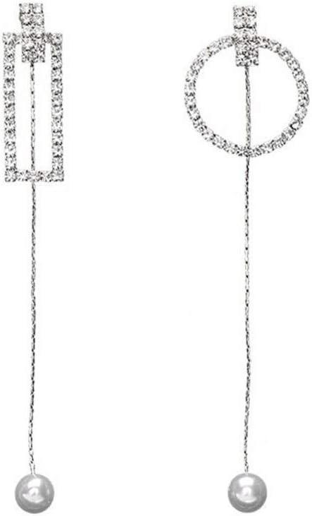 Pendientes Classic Charm perfecta aguja de plata Pendientes geométrica rectangular redonda asimétrica larga sección oído de la borla colgante de diamantes orejeras Pendientes Exquisitos y Encantadores