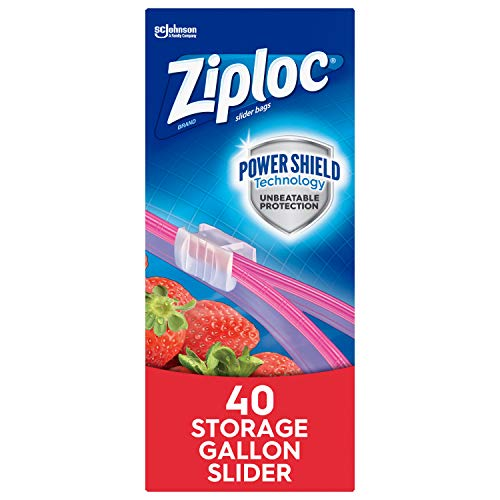 Ziploc Brand Slider Storage Gallon Bags with Power Shield Technology, (.40 Count (Pack of 1))