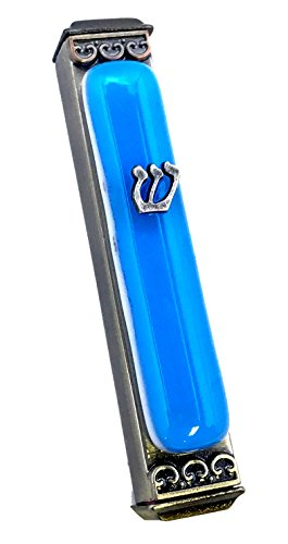 Mezuzah Case Gifts - Art Glass Mezuzah, Easy Mount Indoor or Outdoor Weatherproof Metal Case Gift Box and Non-Kosher Scroll Included Hand Made in USA Guaranteed for Life! (Sky)