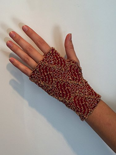 Fingerless Gloves. Red, Textured, Stretchy. One Size Fits All.