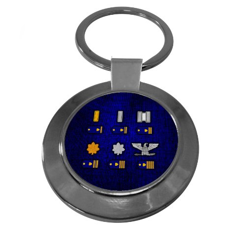 Premium Key Ring with U.S. Coast Guard, officer rank insignia (ensign to captain) Coast Guard Officer Rank