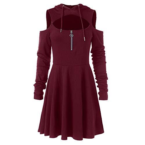 Birdfly Retro Steampunk Vintage Fashion Women Open Shoulder Long Sleeve Hooded Swing Zipper Dress (XL, Wine) ()