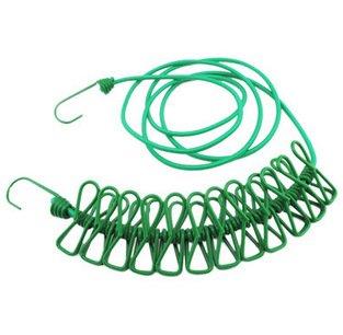 ポータブル伸縮性旅行Clothesline with 12個Clothespins旅行屋外と屋内ガジェットの使用(グリーン) B07C3SDV7H