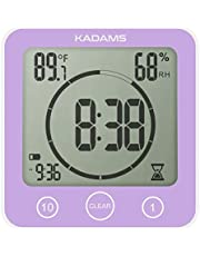 KADAMS Digital Bathroom Shower Kitchen Wall Clock Timer with Alarm, Waterproof for Water Spray, Touch Screen Timer, Temperature Humidity, Suction Cup Hanging Hole Stand