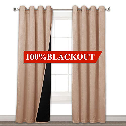 100% Blackout Lined Velvet Drapes - Soft Smooth Velvet Curtains with Durable Black Backing, Complete Shading Privacy Assured Draperies for Bathroom, Blush Beige, W52 x L108, 2 Pcs ()