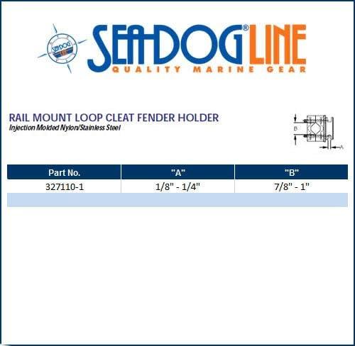 Sea Dog 327110-1 Rail Mount Loop Cleat Boat Fender Holder