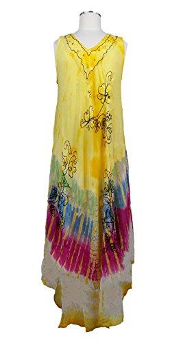 Multi Yellow Size Rayon Print Women's Indian Sleeveless Colors Free Dye Rainbow Tie Dress 58C7qwC