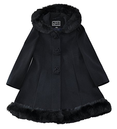 Rothschild Little/Big Girls Faux Wool Scalloped Rosette Winter Dress Coat with Hood, Midnight 8 -