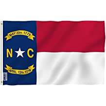 Anley Fly Breeze 3x5 Foot North Carolina State Polyester Flag - Vivid Color and UV Fade Resistant - Canvas Header and Double Stitched - North Carolina NC Flags with Brass Grommets 3 X 5 Ft