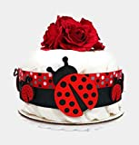 Ladybug One Tier Girl Baby Girl Diaper Cake Baby Shower Centerpiece