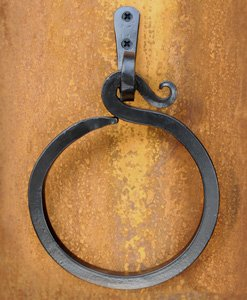 5.25 in. Iron Towel Ring w Bar by Artesano Iron Works