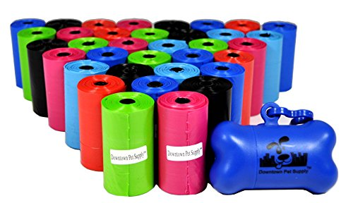 700 Pet Waste Bags, Dog Waste Bags, Bulk Poop Bags on a roll, Clean up poop bag refills - (Color: Rainbow of Colors) + FREE Bone Dispenser, by Downtown Pet Supply