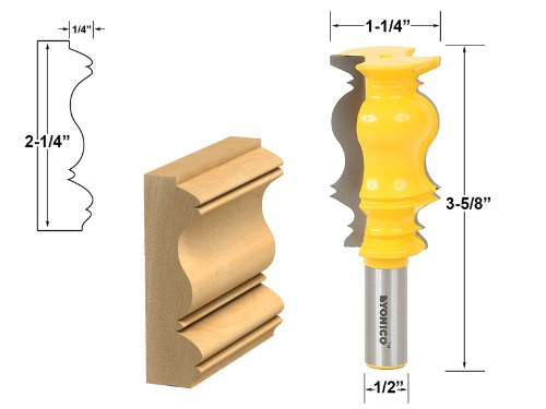 Yonico 16153 Crown Molding Router Bit 1/2-Inch (Cornice Crown Molding)