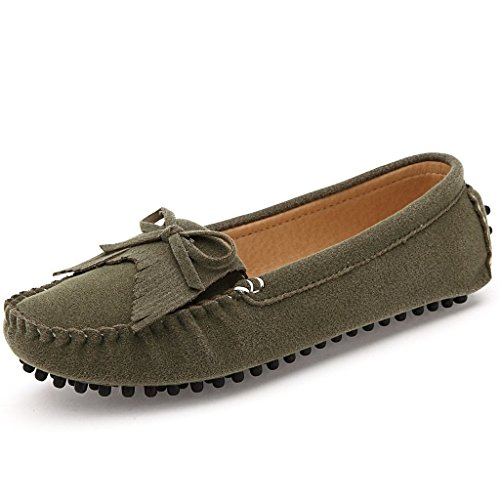 Eagsouni Womens Polyurethane Suede Flats Slip On Loafers Driving Moccasins Soft Casual Walking Boat Shoes Army Green