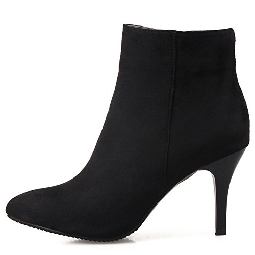TAOFFEN Women Fashion High Heel Ankle Boots With Zipper Dress Shoes Black 5Xbm2RH3B5