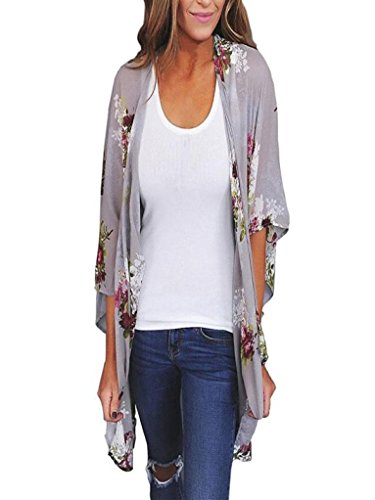 Cardigans for Womens, FORUU Chiffon Shawl Print Kimono Top Belt Cover Up Blouses (L, Gray)