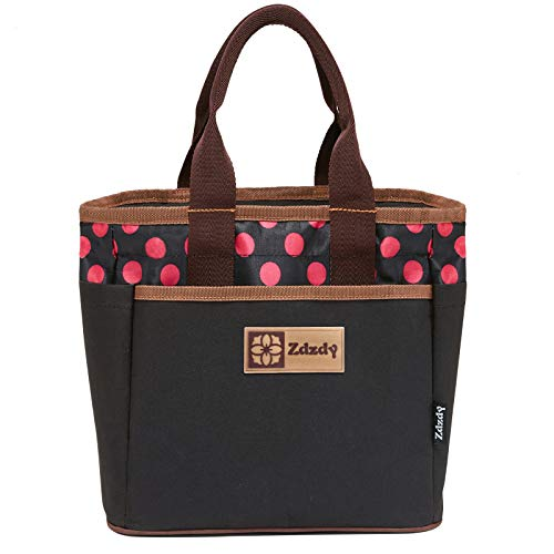 Zdzdy Adult Insulated Lunch Tote Bag for Women with Zipper Reusable Grocery Cooler Bag Waterproof Personality Handbag Large Capacity Bento Box for Girls Work Picnic, Polka Dot