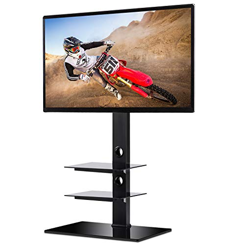 - Rfiver Black Floor TV Stand with Universal Swivel Bracket Mount for 32 to 65 inch Flat/Curved Screen TV, Adjustable Height and Three Tempered Glass Shelves TF2002