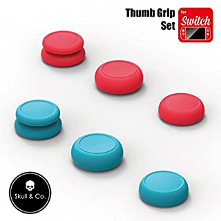 Skull & Co. Skin, CQC and FPS Thumb Grips Set Joystick Cap Analog Stick Cap for Nintendo Switch Joy-Con Controller - Neon Red+Blue, 3 Pairs(6pcs)